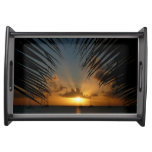 Sunset Through Palm Fronds Tropical Seascape Serving Tray