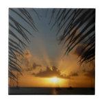 Sunset Through Palm Fronds Tropical Seascape Tile
