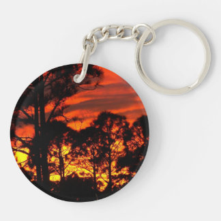 Sunset through pines red yellow Double-Sided round acrylic keychain