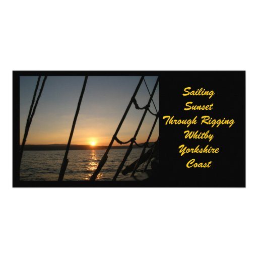 Sunset through rigging photocard photo cards