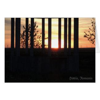 Sunset through the columns in Histria Card