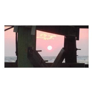 Sunset Through The Pier - Oak Island, NC Photo Card