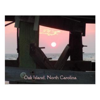 Sunset Through the Pier - Oak Island, NC Postcard