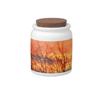 Sunset Through The Winter Trees Candy Jar