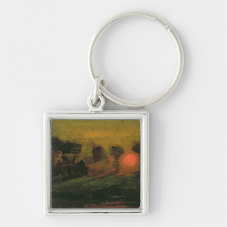 Sunset through Trees, c.1855 Silver-Colored Square Keychain