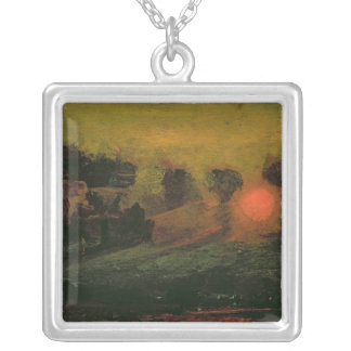 Sunset through Trees, c.1855 Silver Plated Necklace