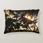 Sunset Through Trees I Tropical Photography Accent Pillow