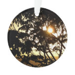 Sunset Through Trees I Tropical Photography Ornament