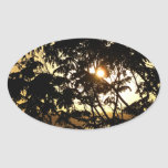 Sunset Through Trees I Tropical Photography Oval Sticker