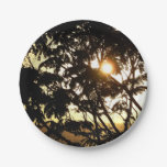Sunset Through Trees I Tropical Photography Paper Plate