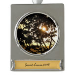 Sunset Through Trees I Tropical Photography Silver Plated Banner Ornament