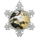Sunset Through Trees I Tropical Photography Snowflake Pewter Christmas Ornament