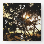 Sunset Through Trees I Tropical Photography Square Wall Clock