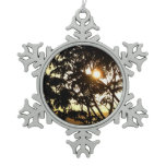 Sunset Through Trees I Tropical Snowflake Pewter Christmas Ornament