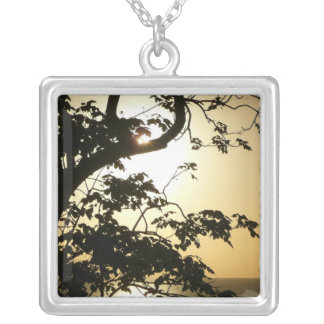 Sunset Through Trees II Tropical Photography Silver Plated Necklace