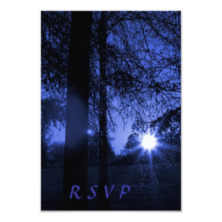 Sunset Through Trees Night Wedding RSVP Cards