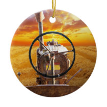 Sunset Tractor Design Ceramic Ornament