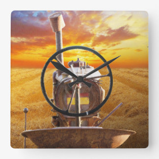 Sunset Tractor Design Square Wall Clock