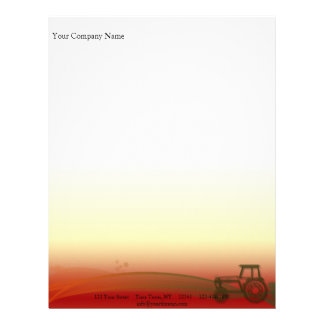 Sunset Tractor Illustration Letterhead