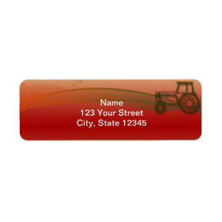 Sunset Tractor Illustration Return Address Label