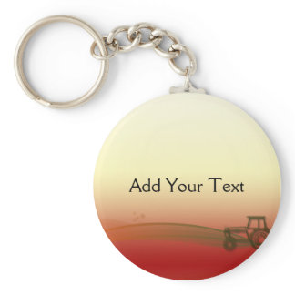 Sunset Tractor Keychain