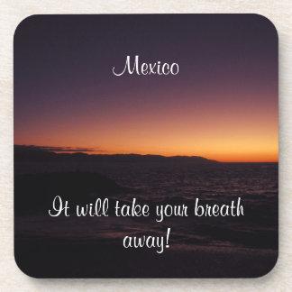 Sunset Transition; Mexico Souvenir Beverage Coaster