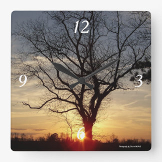 Sunset tree clock