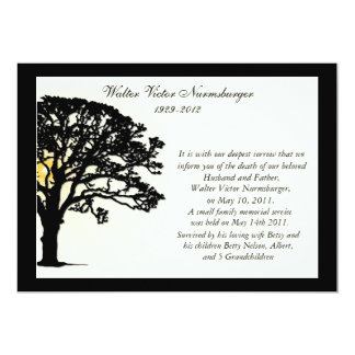 Sunset Tree Death Announcement Card