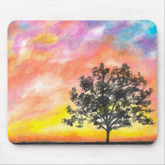 Sunset Tree Landscape Mouse Pad