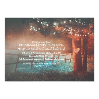 Sunset Tree Lights Rustic Outdoor Rehearsal Dinner Card