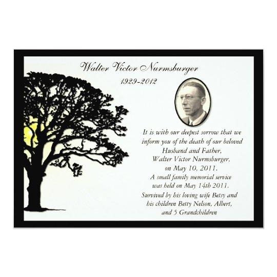 Sunset Tree Photo Death Announcement Card  Death Announcement Templates