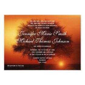 Sunset Tree Silhouette Fall Wedding Invitations 4.5