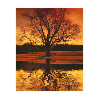 Sunset Tree Water Reflection With Bench Canvas