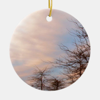 SUNSET TREES IN WINTER CERAMIC ORNAMENT