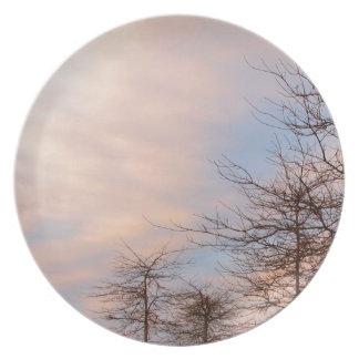 SUNSET TREES IN WINTER MELAMINE PLATE