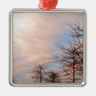 SUNSET TREES IN WINTER METAL ORNAMENT