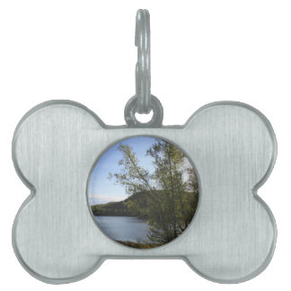 Sunset Trees water and mountains in alaska Pet ID Tag