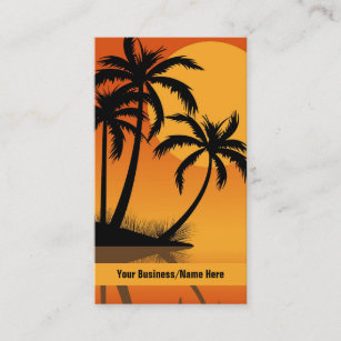 Palm tree business cards templates zazzle sunset tropical silhouette palm trees beach business card colourmoves