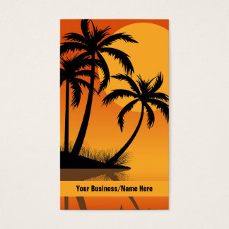 Sunset Tropical Silhouette Palm Trees Beach Business Card