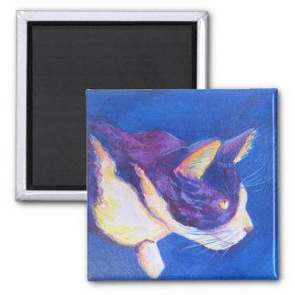 Sunset Tuxedo Cat Pet Art Custom Magnet