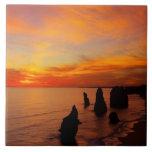 Sunset, Twelve Apostles, Port Campbell National Large Square Tile