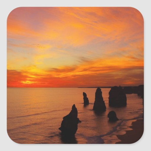 Sunset, Twelve Apostles, Port Campbell National Square Stickers