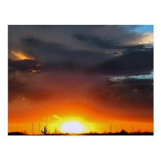 Sunset under the storm. post card