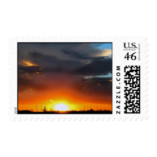 Sunset under the storm stamp