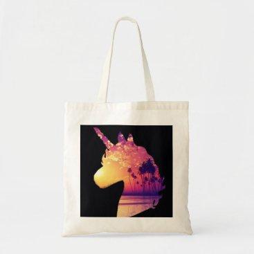 Beach Themed Sunset unicorn tote bag
