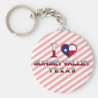 Sunset Valley, Texas Basic Round Button Keychain