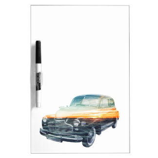 sunset vehicle double exposure Dry-Erase board
