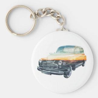 sunset vehicle double exposure keychain