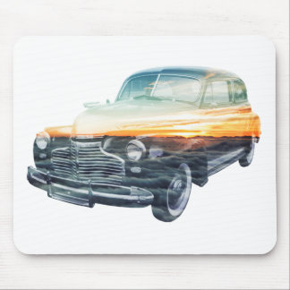 sunset vehicle double exposure mouse pad
