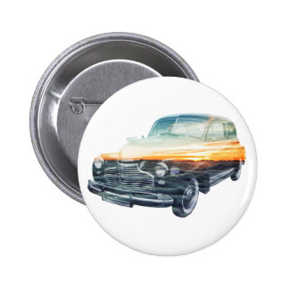 sunset vehicle double exposure pinback button